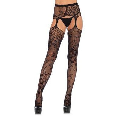Floral Lace Stockings W- Attached  Waist Garterbelt - Black - One Size