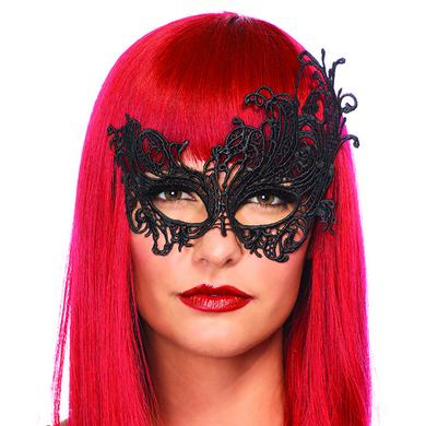 Fantasy Venetian Applique Eye Mask - Black