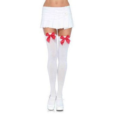 Nylon over the Knee Socks - White with Red Bow