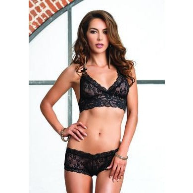 2 Pc. Lace Halter Bra Top with Matching G-string Booty Short - Black - Small-medium