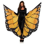 Festival Butterfly Wing Halter Cape - Orange-  Black - One Size