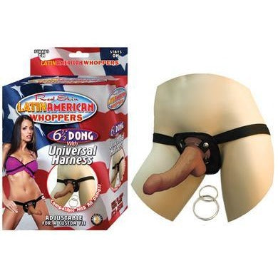 All American Whoppers 6.5-inch  Dong with Universal Harness -  Latin