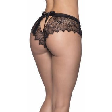Open Back Lace Shorty W- Satin Tie - Black -  Small- Medium