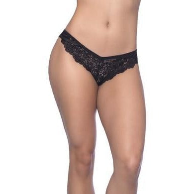 Cage Back Galloon Lace Boyshort with Wrap  Around Elastic Detail - Large-extra Large - Black