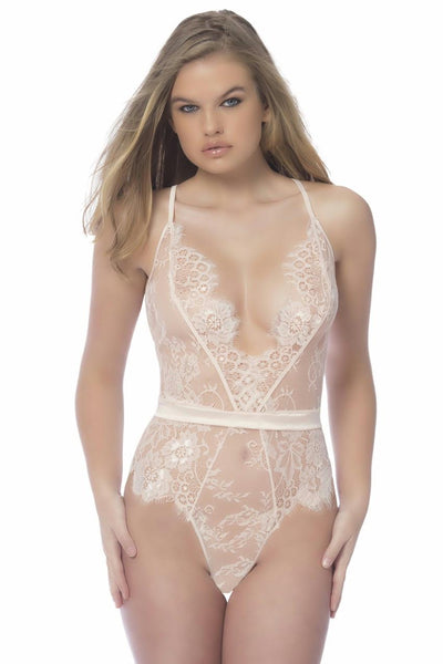 Soft Full Lace Bodysuit With Satin Trims - Large - Silver Peony