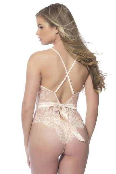Soft Lace Bodysuit With Satin Trims - Medium - Silver Peony