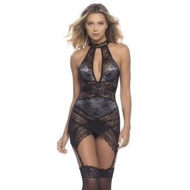 Lace Overlay Collared Chemise W- Crossing Lace Panels + G-string - Black- Ash - Large