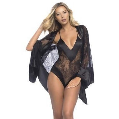 All over Lace Handkerchief Robe W-  Wide Satin Edges - Black - One Size