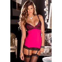 2 Piece Hollywood Chemise and G-string Set - Hot Pink - Small - Medium