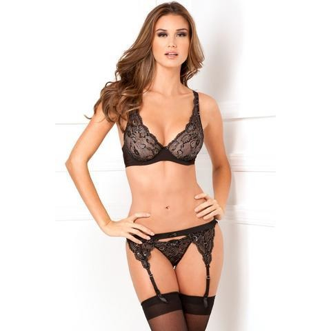3 Piece Lux Lace Lurex Garter And Thong Set - Black - Small-Medium