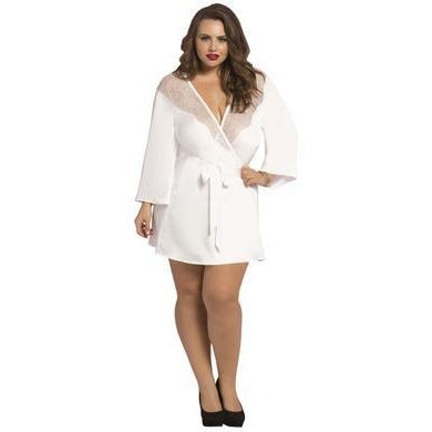 Satin & Eyelash Robe - Queen Size - White