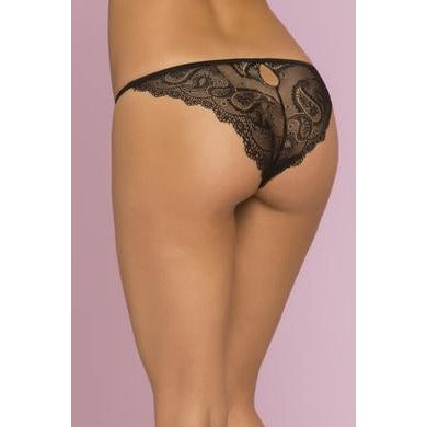 Sophia Paisley Floral Lace Panty - Black - Small