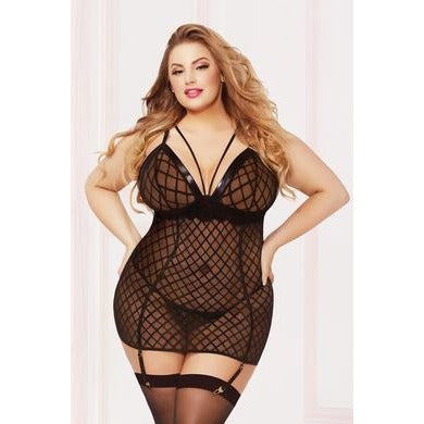 Chemise with Garter & Thong - 1x2x - Black