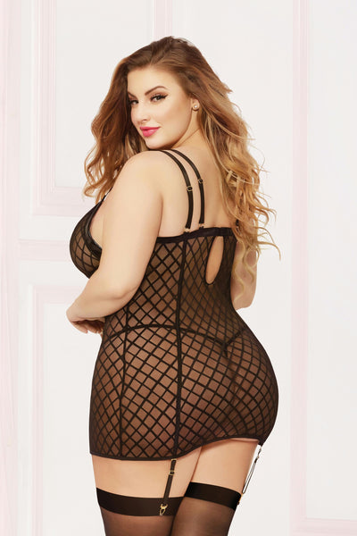 Chemise With Garter & Thong - 3x4x - Black