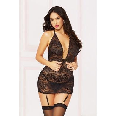 Lace & Chain Chemise with Thong Set - One Size -  Black