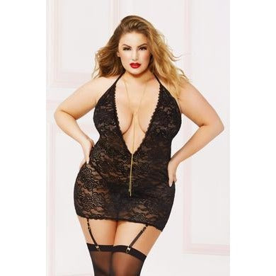 Lace & Chain Chemise with Thong Set - Queen Size  - Black