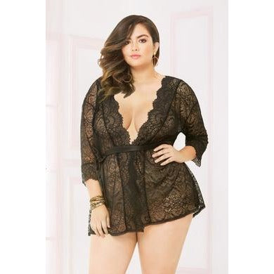 Lace Robe - Queen Size - Black