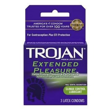 Trojan Extended Pleasure Lubricated Condoms - 3 Pack
