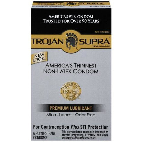 Trojan Supra Lubricated Condoms - 6 pack