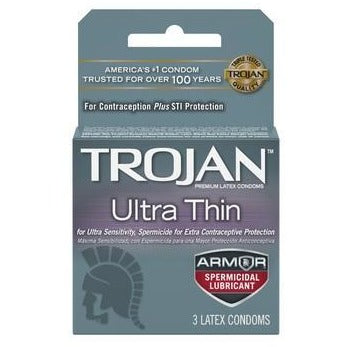 Trojan Ultra Thin Armor Spermicidal Condoms - 3 Pack