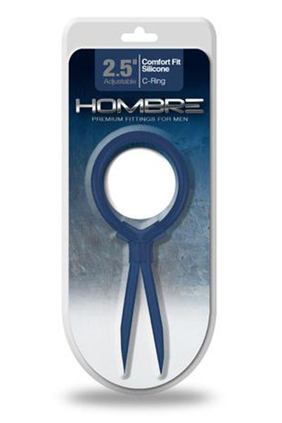 Hombre Comfort Fit Silicone Adjustable C-Ring -  Navy