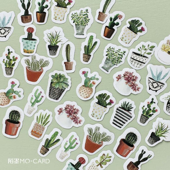 45 pcs Green Plants Stickers || Decorative Stationery Stickers & Scrapbooking