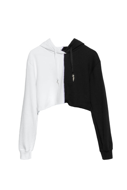 Cropped Diamonte Sweater Black/White