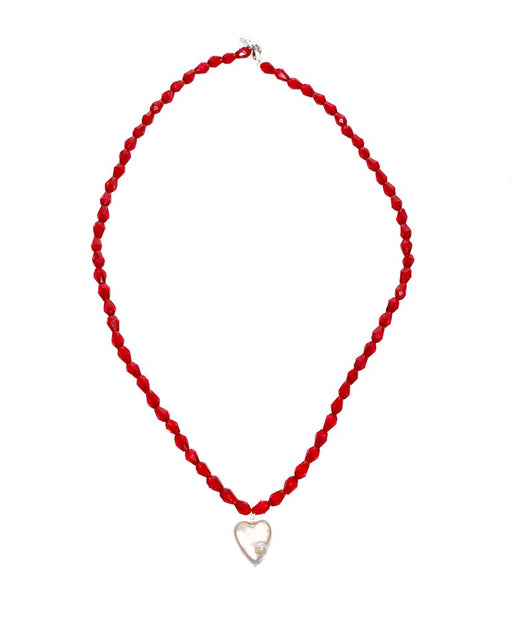 Chaquira Heart Pearl Necklace