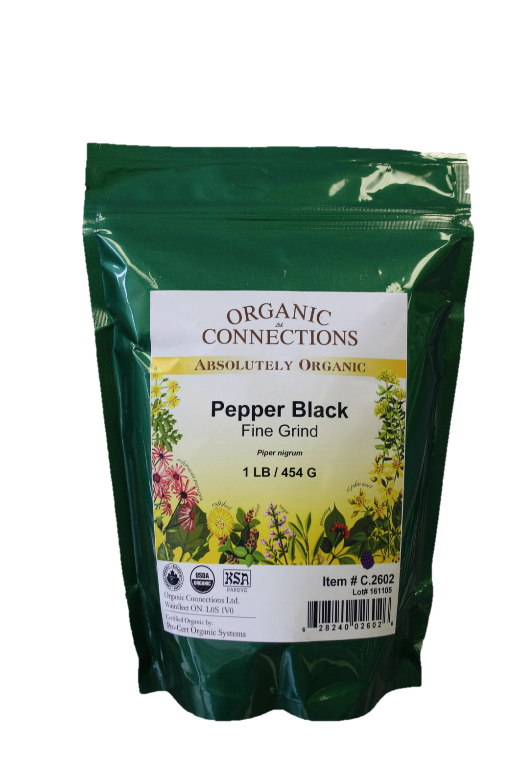 Organic Connections, Black Pepper, Fine Ground, Organic (1 lb)