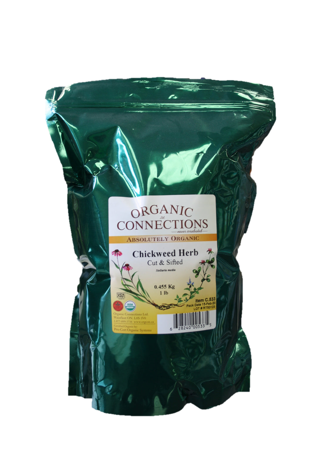 Organic Connections, Chickweed Herb, Cut and Sifted, Organic (1 lb)