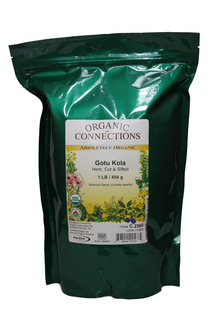 Organic Connections, Gotu Kola Herb, Cut and Sifted, Organic (1 lb)