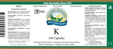 Nature's Sunshine Products, K (100 Capsules)