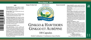 Nature's Sunshine Products, Ginkgo & Hawthorn (100 Capsules)
