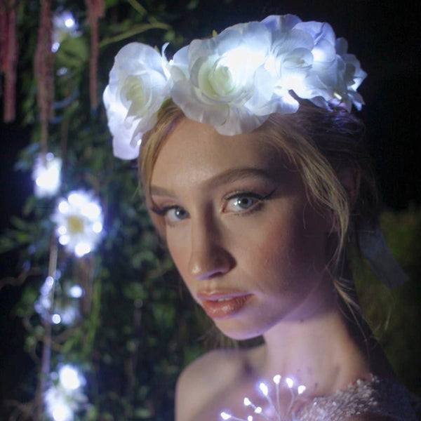 Little light lab - White Light Up Rose Crown