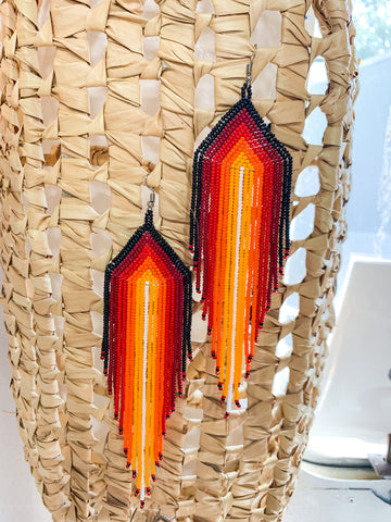 Orange Fever Beaded Earrings