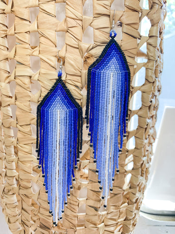 Blue Spirit Beaded Earrings