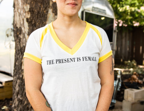 Present is Female V-Neck