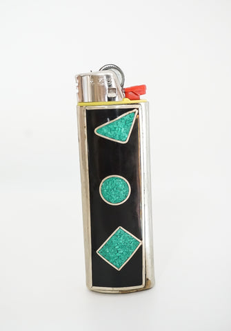 Chipped Turquoise & Black Onyx Lighter Case