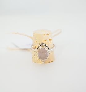 Sterling Silver + Rose Quartz Poison Ring