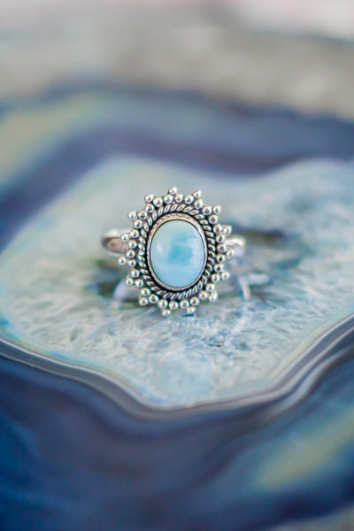 Boho Larimar Ring, 925 Sterling Silver Statement Oval Ring