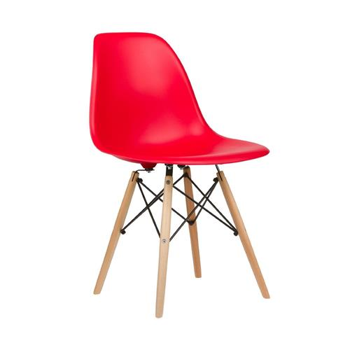 Eiffel Dining Chair - Natural Wood Legs - Red