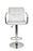 Hexagrid PU Leather Height Adjustable Bar Stool with Arms in White (Set of 2)