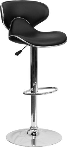 Nicer Furniture -  2-DS-815-BK-GG 2-Pack Contemporary Cozy Mid-Back Vinyl Adjustable Height Bar Stool with Chrome Base, Black