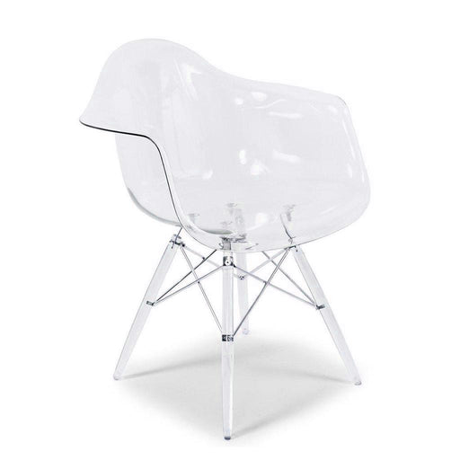 Transparent Clear - Modern Style Arm Chair with Transparent Clear Legs