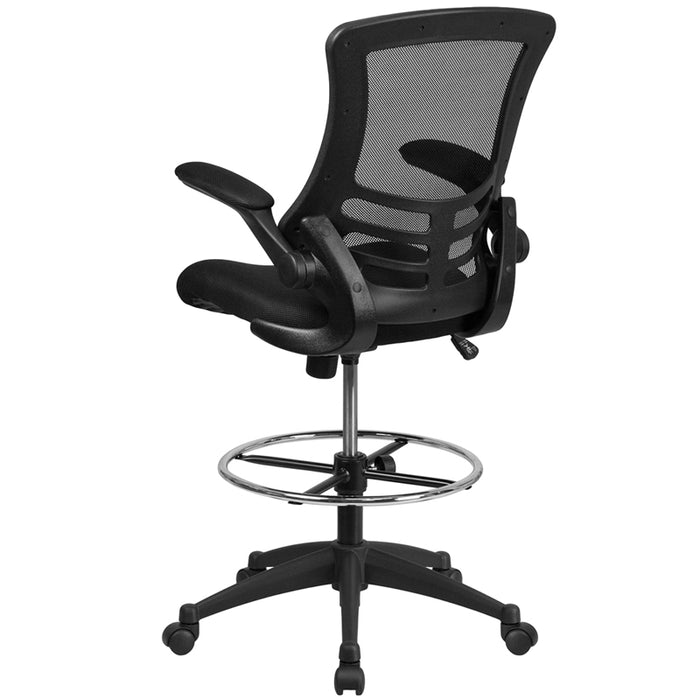 Mesh Mid-Back Drafting Chair with Foot Ring and Flip-Up Arms