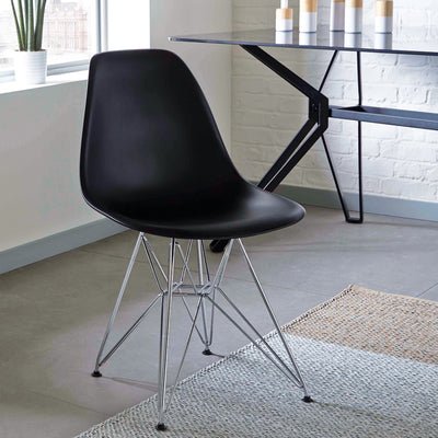 Black - Chromed Steel Legs Eiffel Dining Room Chair (Set of 4)