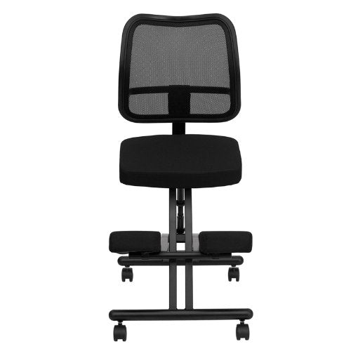 Mobile Ergonomic Kneeling Chair with Black Curved Mesh Back/Fabric Seat