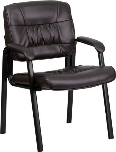 Nicer Furniture - Brown Leather Guest/Reception Chair, Black Frame