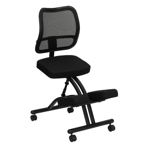 Nicer Interior - WL-3520-GG Mobile Ergonomic Kneeling Chair with Black Curved Mesh Back/Fabric Seat