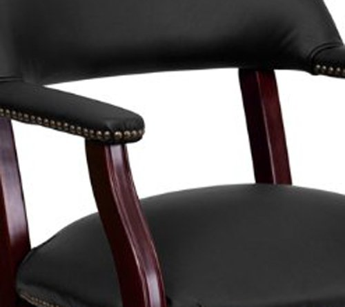 Nicer Furniture - Black Leather Luxurious Conference Chair with Casters
